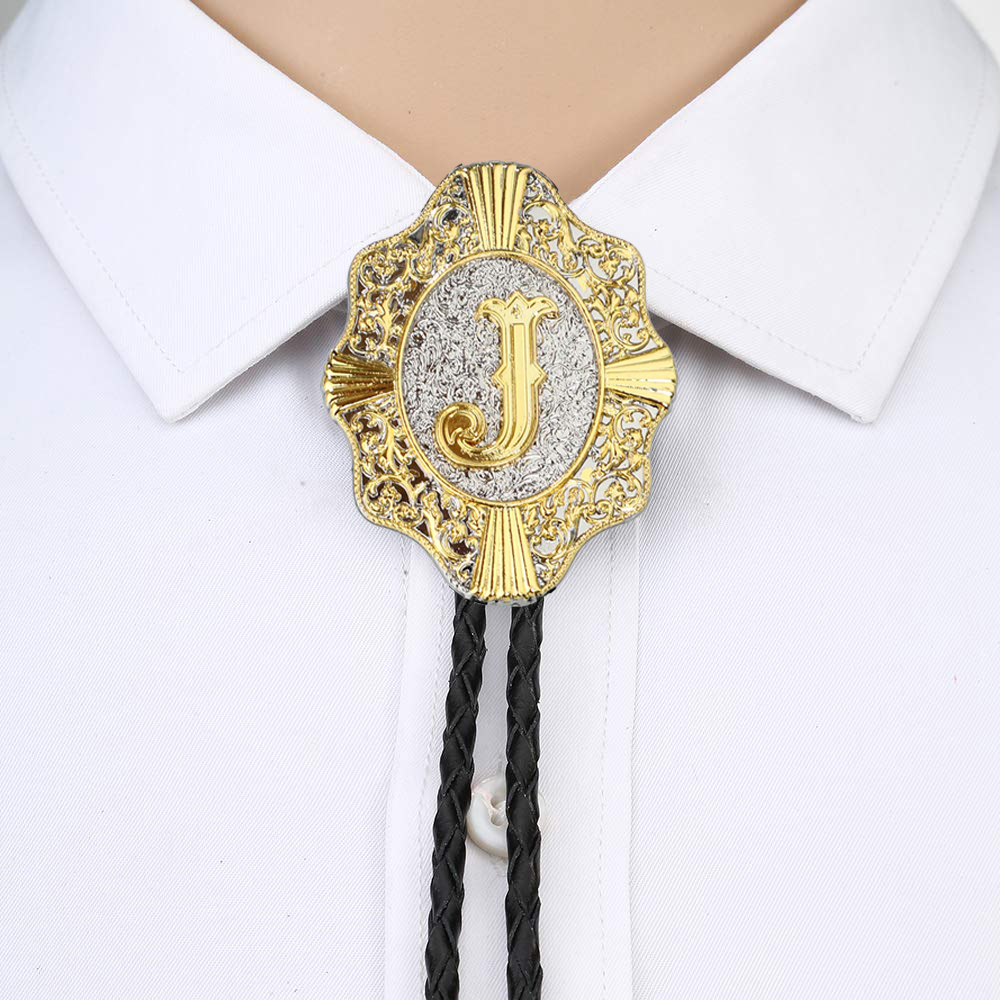 Letter ABCDEFG-Z Bolo Tie For Man Indian Cowboy Western Cowgirl Leather Rope Zinc Alloy Necktie