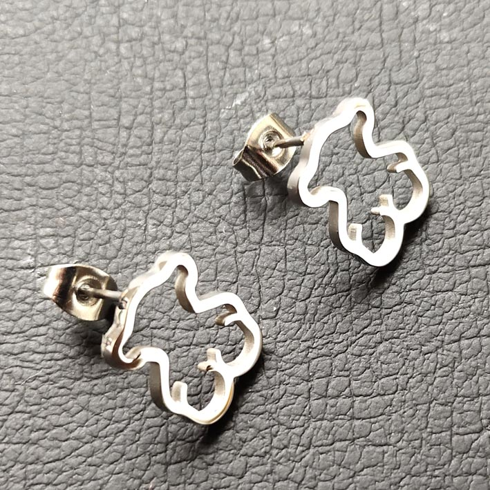 Hot Style Stainless Steel Memorial  Mama Love Earring Memorial Cute Animal 10*12mm