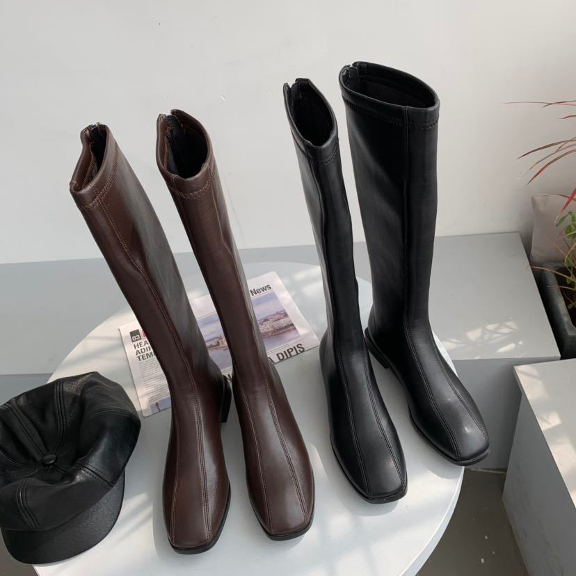 Winter Fleece Knee High Boots Women Faxu Leather Over The Knee Boots Black Brown Women Shoes
