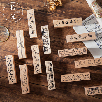 1pc Vintage natural Star Planet Forest rubber seal cute Wood clear stamps DIY scrapbooking decoration journal supplies