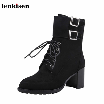 Lenkisen fashion belt buckle straps soft sheep suede ladies shoes lace up round toe high heels winter warm women ankle boots L68
