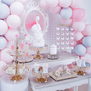cake stand set mirror pearls new style good quality cake plate