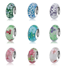 StrollGirl 925 silver sparkling flower Murano glass beads multicolor diy charms fit authentic Pandora bracelet jewelry gift цена