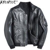 AYUNSUE 100% Genuine Leather Jacket Men Cowhide Mens Jackets and Coats Short Vintage Clothes Spring Autumn Bomber Jacket 2020