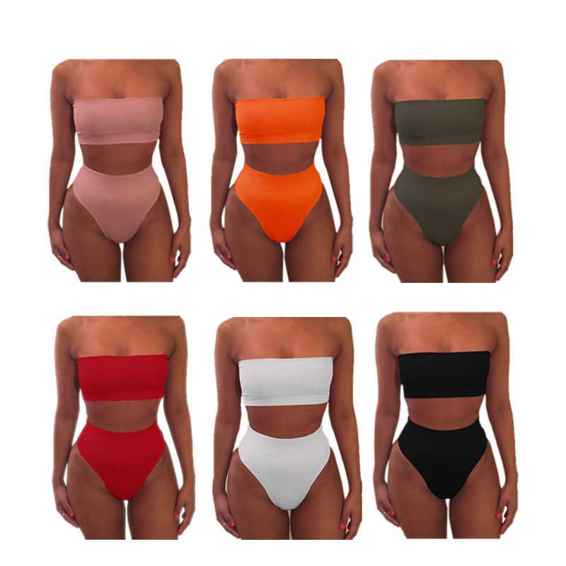 Musim Panas Seksi Wanita Bikini Wanita Swimsuit Push-Up Bra High Waist Bikini Set Pakaian Renang Baju Renang Pakaian Renang Baju Renang s-XL 2 Pcs