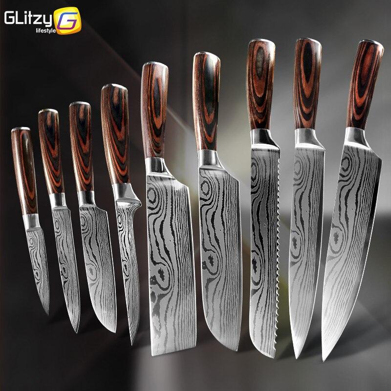 주방 나이프 8 인치 주방장 칼 7CR17 440C 고 탄소 스테인레스 스틸 다마스커스 그리기 Gyuto Cleaver Set Slicer Santoku Knife