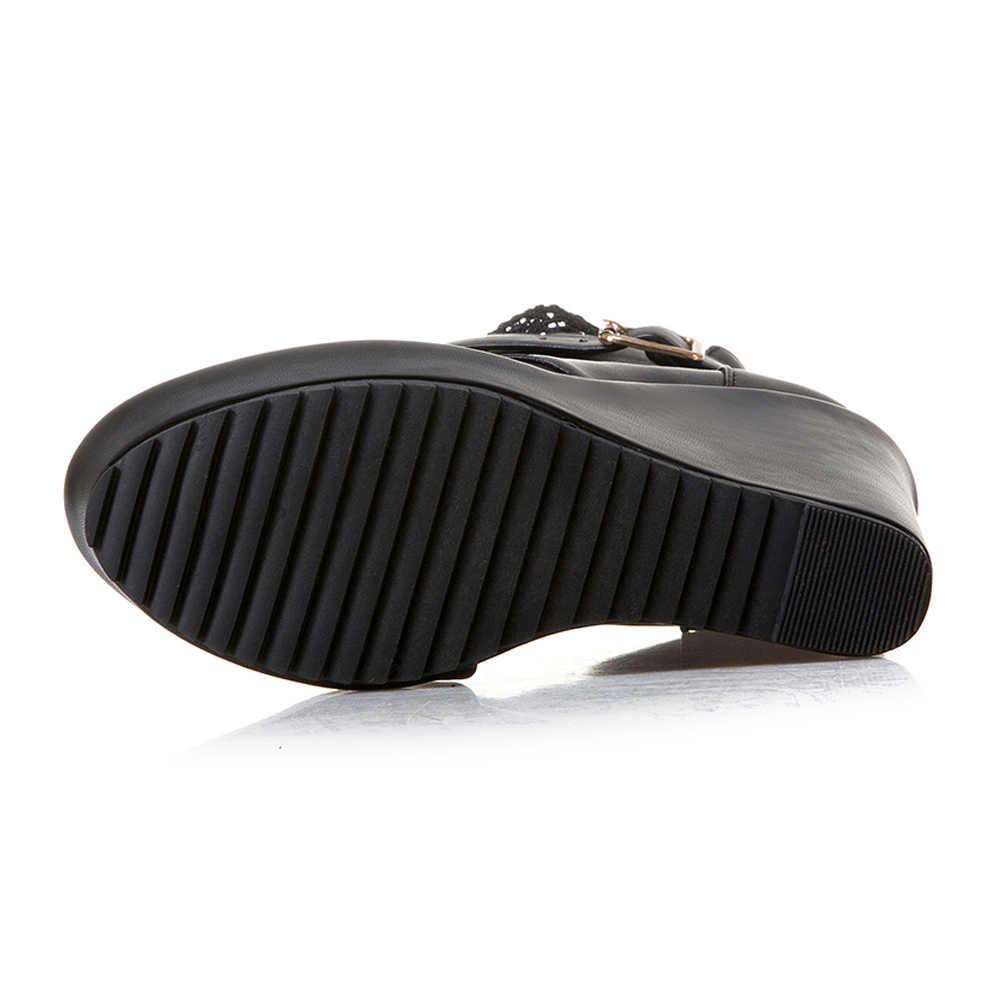 CDPUNDARI/ботильоны для женщин на высоком каблуке; ботинки на танкетке; женская зимняя обувь; Цвет черный, белый
