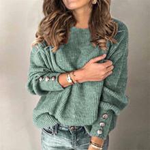 Moda damska stałe kolorowy pulower okrągły dekolt Wa długi sweter z rękawem zima wa z długim sweter z rękawami sweter top tanie tanio REGULAR Wiskoza POLIESTER Z okrągłym kołnierzykiem CN (pochodzenie) Na wiosnę jesień guzik Pełne STANDARD Brak Na co dzień