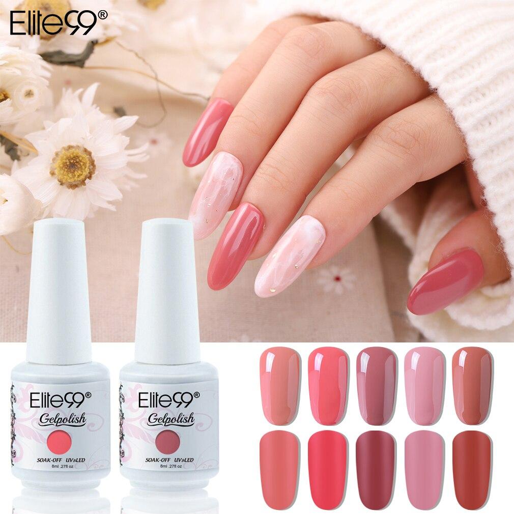 Elite99 8ml Pure Color Gel Nail Polish For Manicure UV LED Nail Varnish Semi Permanent Soak Off Nail Art UV Gel Polish Lacquer