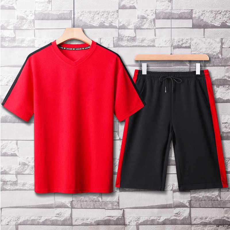 Conjuntos de roupas esportivas dos homens verão 2020 retalhos casual agasalho dos homens duas peças camiseta + shorts masculino terno pista plus size