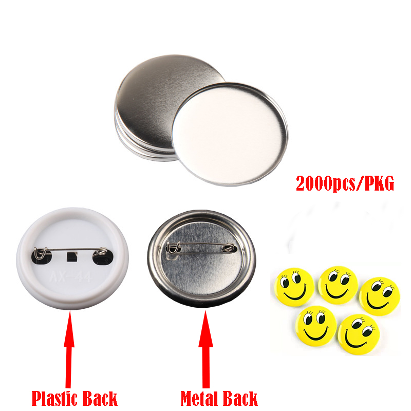 2000pcs <font><b>44mm</b></font> <font><b>Pin</b></font> <font><b>Button</b></font> Badge blank Raw Material DIY <font><b>Pin</b></font> badges supplies parts (Plastic back and metal back Badge For choose) image