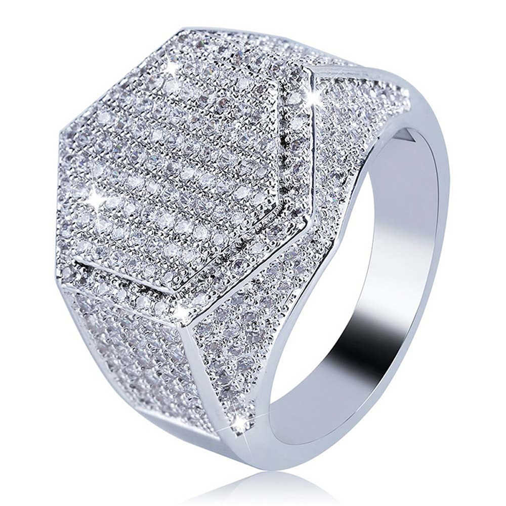 Beiver สินค้าใหม่สีชมพูสแควร์ Zircon แหวนผู้หญิงสีขาวทองงานแต่งงานเครื่องประดับสุภาพสตรีของขวัญ
