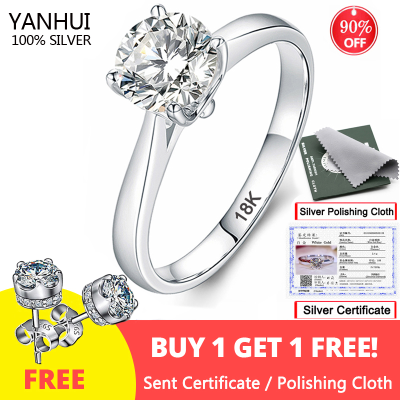 Engagement-Rings Diamond Jewelry 925-Ring Wedding-Band Silver 18k Gold Free-Sent-Certificate