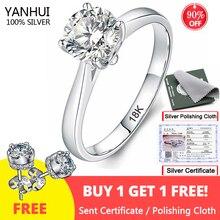 Free Sent Certificate Silver 925 Ring Original White 18K Gold Pt Wedding Band 2.0ct Zirconia Diamond Jewelry Engagement Rings