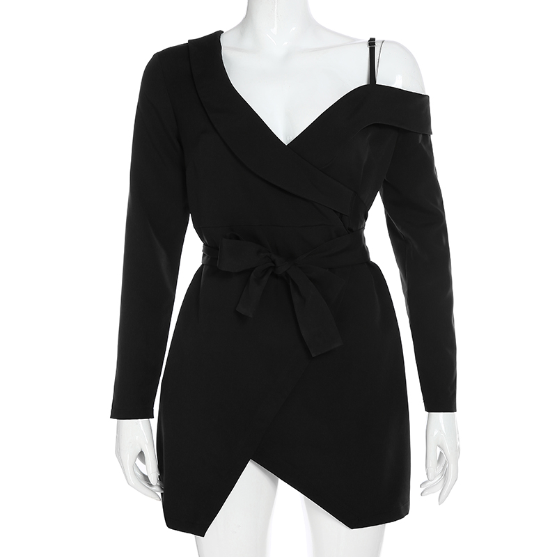 Elegant Asymmetrical Long Sleeve Office Blazer Black Dress 4