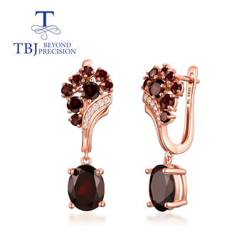TBJ,925 sterling silver garnet clasp earring,Natural Mozambique Garnet oval 8*10mm 8ct up nice gemstone fine jewelry for women