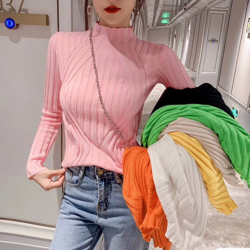 2019 Korean Version Long Sleeve Loose Sweater Women Slim 7 Colors Sweater Autumn Spring