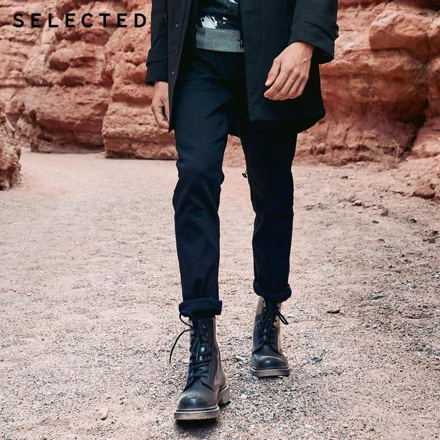 SELECTED Mens Autumn & Winter Fit Jeans Clothes Stretch Cotton Straight Denim Pants C