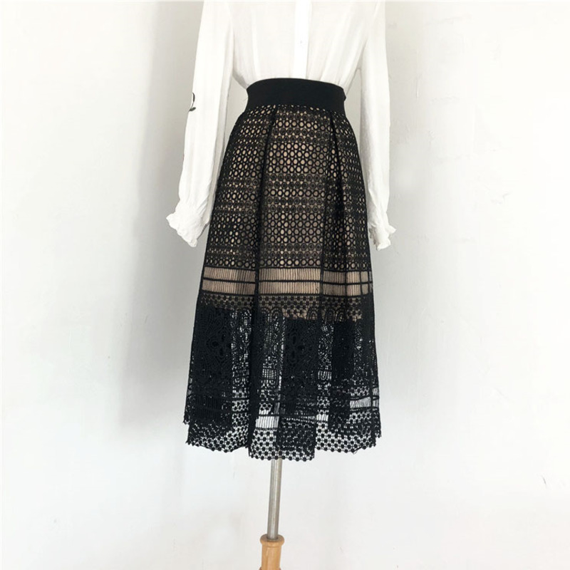 2020 New Spring Winter High Waist Hollow Lace Loose Casual Pleated Temperament Mid-calf Skirt Fashion Tide Women OB563