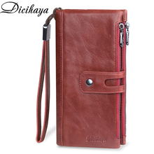 DICIHAYA Genuine Leather Long Woman Red Purse Wallet Clutch Bag Ladies Purses Card Holder Women Phone Bags Carteira Feminina