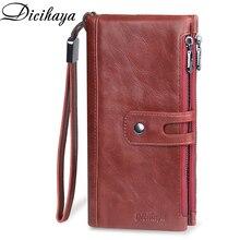 DICIHAYA cartera roja larga de piel auténtica para mujer, bolso de mano, tarjetero, para teléfono