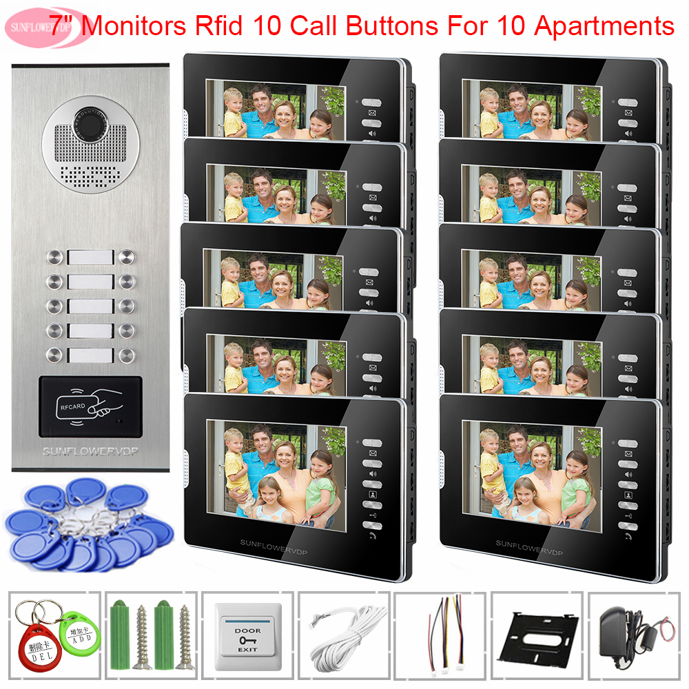 For 10 Apartments Video Doorbell With Monitors Access Control White Black 7