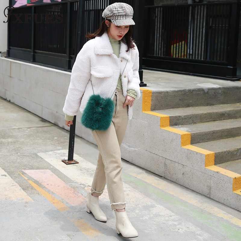 חדש 2019 אמיתי שועל פרווה תיק 100% אמיתי פרווה שקיות ירוק צבע ארוך שרשרות נשים אופנה פרווה תיק יוקרה פרווה