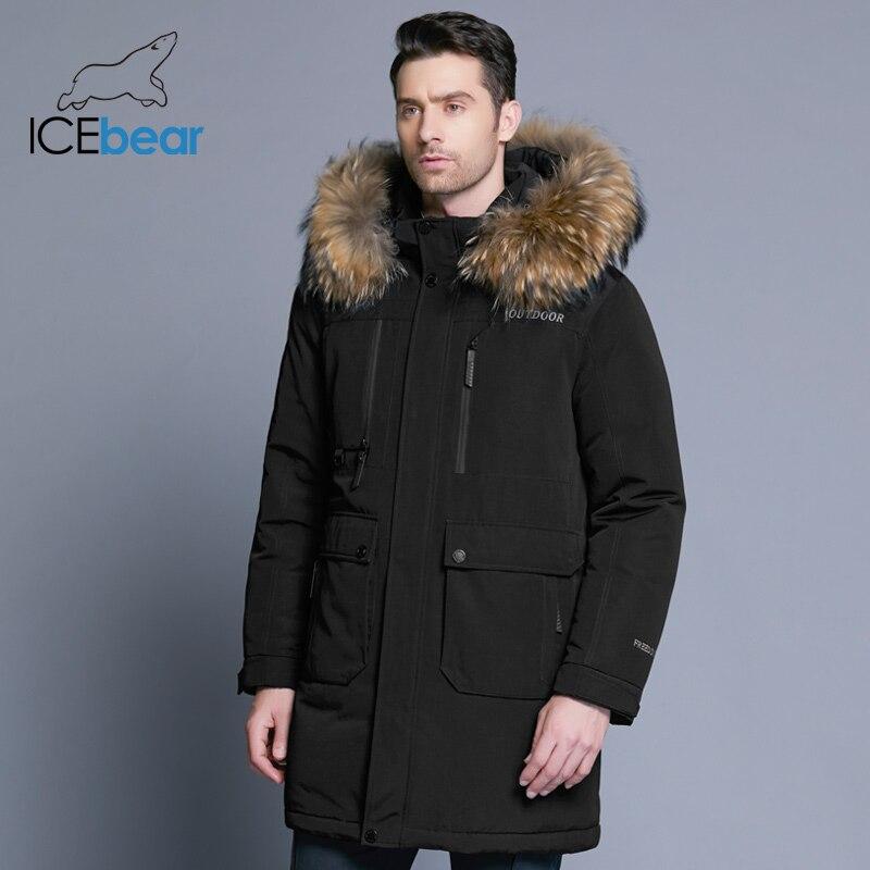 ICEbear 2019 novo inverno para baixo dos homens jaqueta jaquetas masculinas de alta qualidade destacável chapéu masculino grosso quente gola de pele roupas MWY18963D
