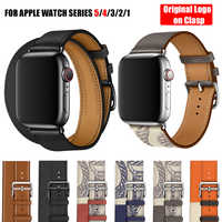 For Apple Watch Series 5 4 3 2 1 44/40/42/38MM Herm Logo on Clasp Swift Leather Double Single Tour Watch Band Strap for iWatch