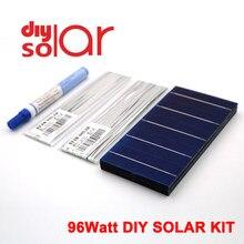 Panel Solar DIY de 96 vatios, celda Solar de policristalino de 78X156mm, 100 W, 3X6 pulgadas, 100 W, cable de bloqueo, lápiz de soldadura, juguete Flexible