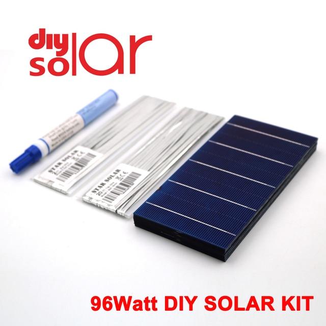 "96 Watt Kit DIY Solar Panel 78X156mm Polycrystall Solarzelle 100 W 3X6 ""100 W Tabbing Draht Buswire Flux Stift SPIELZEUG Flexible"