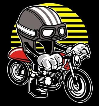 Camiseta negra o blanca para casco de motocicleta Caferacer