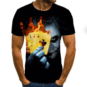 2020 New Graphic T-shirt Clown JOKER Theme Men's T-shirt 3D Fashion Tops Summer O-neck Shirt Boy Clothing Plus Size Streetwear
