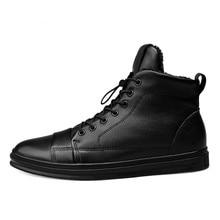цена на Big Size High Quality Genuine Leather Men Ankle Boots Fashion Black  Winter Men Warm Shoes With Plush 4#15/15D50
