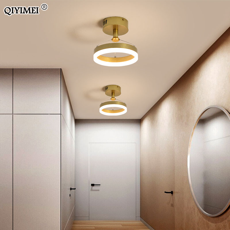 Modern Led Chandeliers For Indoor Corridor Aisle Lights Coffee Gold Minimal Lighting Personality Lustre Lamps Luminaria  QIYIMEI