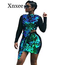 Sexy Sequin Two Piece Set Women Elegant 2 Piece Club Outfits Autumn Crop Top and Bodycon Skirt Set Party Matching Sets for Women lofrcy sexy sequin 2 piece set women crop top and skirt glitter club outfits puff sleeve square neck ruched dress matching sets