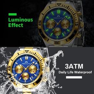 Image 3 - MEGALITH hommes Sport montres de luxe marque or bracelet en acier montres hommes étanche lumineux Quartz homme horloge Reloj Hombre 2019