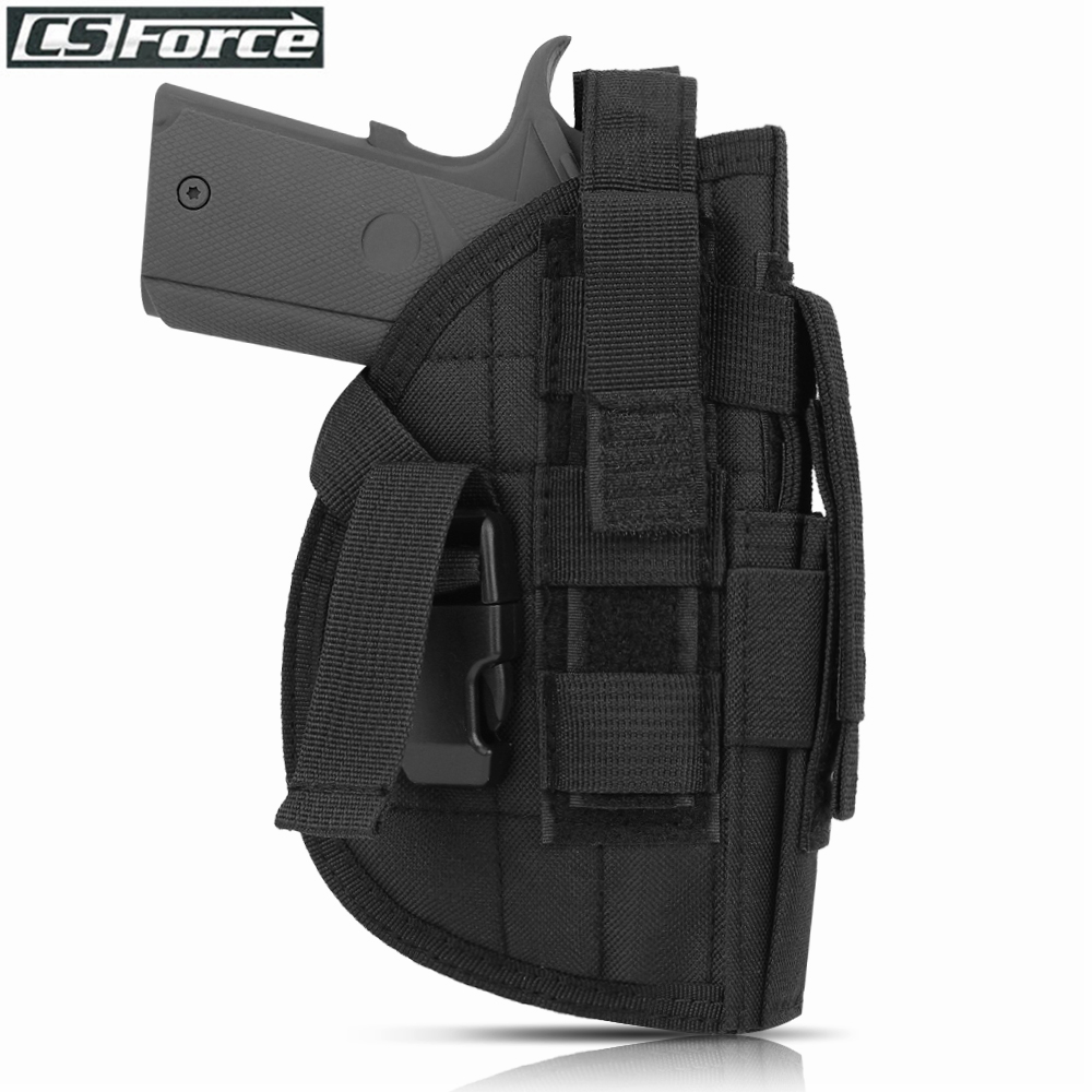 Tactical 600D Molle Gun Pistol Holster For Right Hand Hunting Shooting Holsters Adjustable Straps Rifle Pouch Quick Release