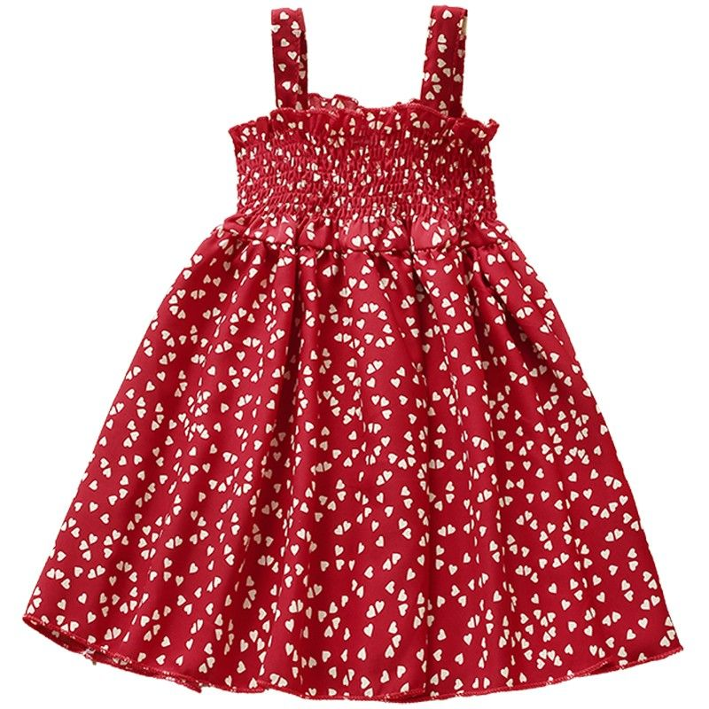 VIDMID Summer New party style clothes Girls Sexy Dress Red floral Plaid children kids Sleeveless cotton Short Dresses P510 5