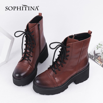 SOPHITINA Women Boots Autumn Winter High Quality Leather Ankle Boots Round Toe High Heel Platform Zipper Mature Shoes Women C831 sophitina handmade ankle boots high quality sexy high thick heel retro round toe women boots buckle winter woman warm shoes b37
