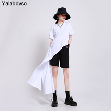 Design Simple Trendy Style Round Neck Short Sleeve Tops 2020 Irregular Solid Color Blouse Female Fashion Shirts Yalabovso
