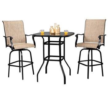 Кованые железные высокие барные столики со склада в США, барный стол для патио, барный стол, 2 стула черного/коричневого цвета, коммерческая