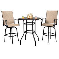 USA Warehouse Wrought Iron Glass High Bar Table Patio Bar Table 2 Pcs Chair Black/Brown Color Commercial Furniture