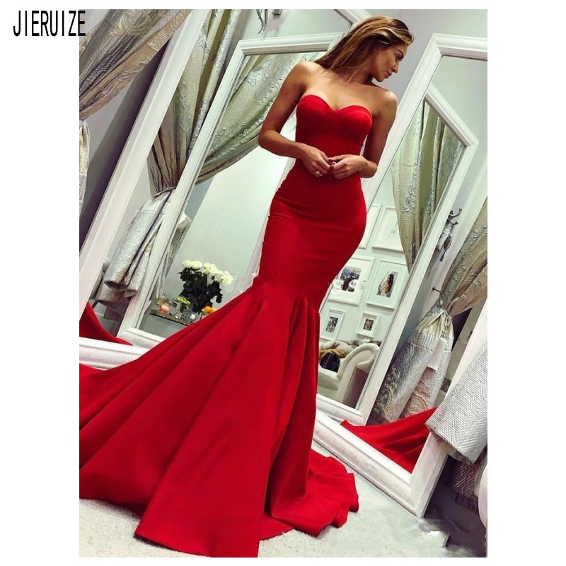 JIERUIZE Red Satin Mermaid Evening Dresses Sweetheart Backless Long Party Prom Dresses Formal Evening Gowns Robe De Mariee