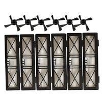 6 uds. Piezas de robot de preformación FILTRO DE POLVO hepa y 6 uds. Cepillo lateral para Neato Botvac D Series 945-0215 filtro 70e D5 D75 D80 D85