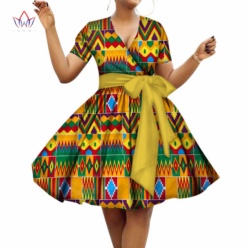 2020 Summer Cotton Dress Plus Size African Dresses For Women V-neck Women African Clothing Knee Length Everyday Dress 5xl WY3215