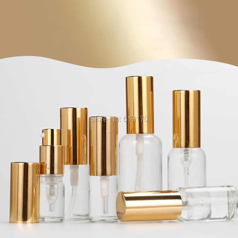 5 ml, 10 ml, 15 ml, 20 ml, 30 ml, 50 ml, 100ml Boş Cam losyon Şişesi Altın kap Temizle pompa şişesi emülsiyon için uçucu yağlar