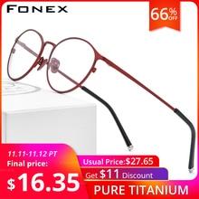 FONEX Pure Titanium Glasses Frame Women Vintage Round Eyewear Prescription Eyeglasses Retro Myopia Optical Frames Men 8501