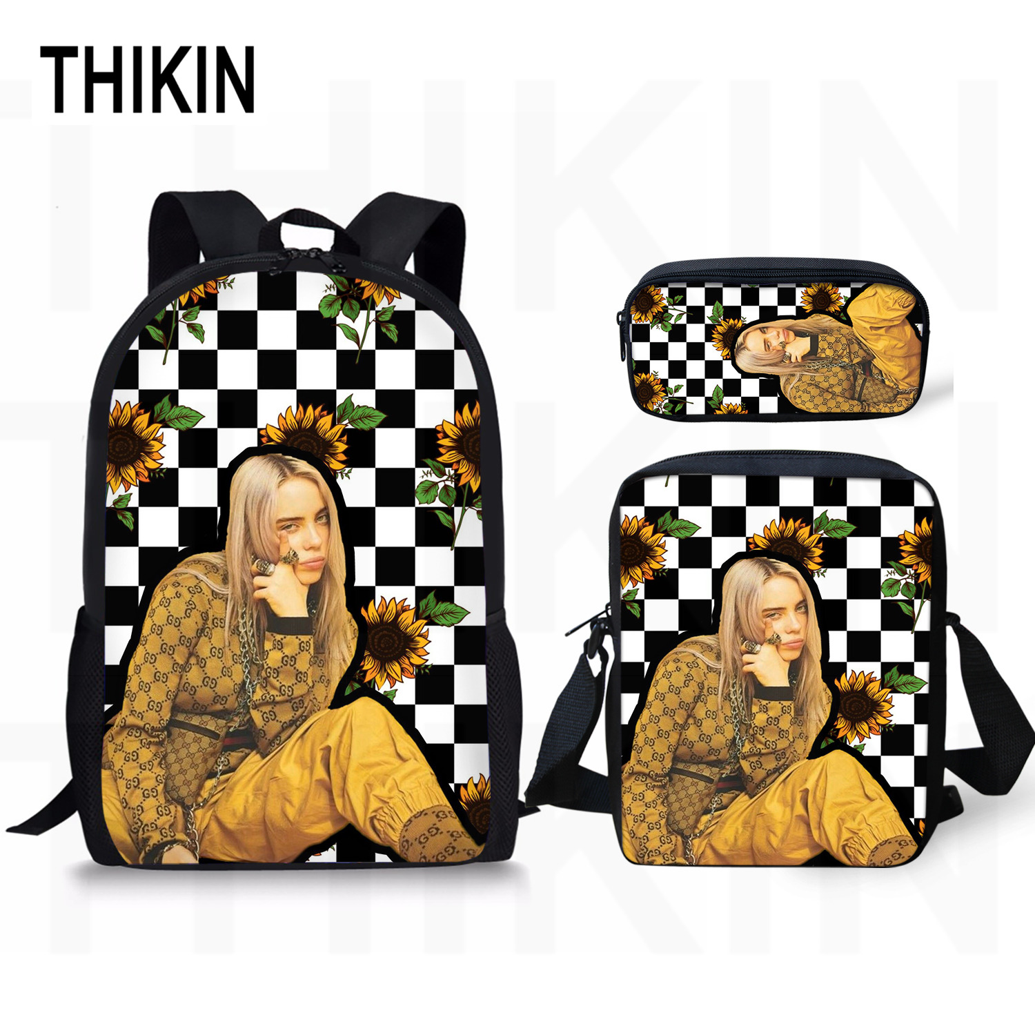 THIKIN Hip Hop Rapper Billie Eilish Backpack School Bags for Teenagers Girls Students Laptop Backpack Women Sunflower Travel Bag in School Bags from Luggage Bags