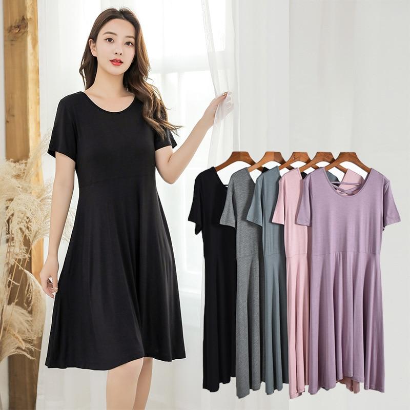 Fdfklak Sleep Dress Women Nightgowns Summer Sleepwear Casual Night Dresses Short Sleeve Dresses Women Loose Modal Nightdress
